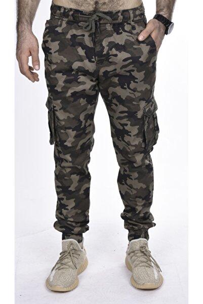BLACK STEEL Erkek Bej Yanları Kargo Cepli Kamuflaj Desenli Pantolon