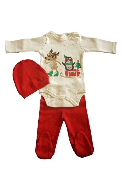 Fuar Baby Neşelibebek Düzkırmızı Unisex Yeni Yıl Yılbaşı Noel Uzun Kollu Patikli Bereli Zıbın Seti 3-6 Ay