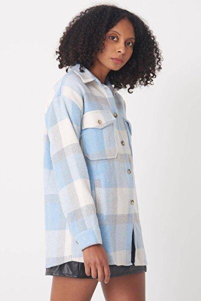 Addax Kadın Buz Mavi Cep Detaylı Ekose Gömlek G11267 - İ9 ADX-0000023320