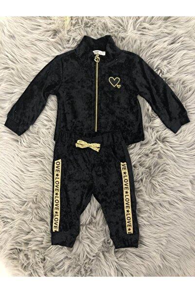 Çikoby Kadife Siyah Kız Bebek Eşortman Takımı