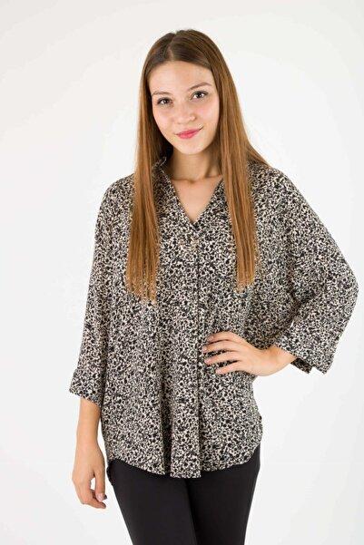 AYHAN Kadın Gri Desenli Bluz