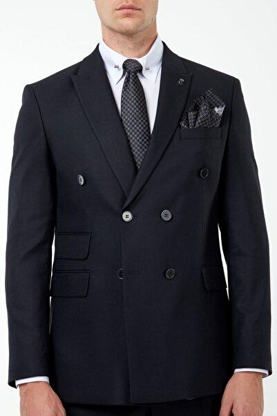 Jack Martin Erkek Siyah Kuşgözü Kruvaze Takım Elbise