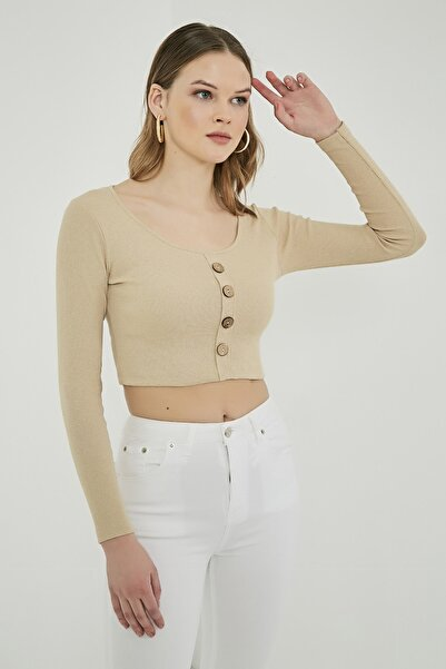 Sateen Kadın Taş Uzun Kol Düğme Detay Crop Bluz  STN904KBL118