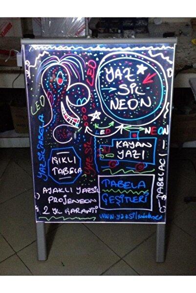 Termoform Işıklı Tabela Çift Taraflı Yazı Yaz Sil Led Neon Tabela Ayaklı Kapı Pano Yazboz Pano Neon Yazı 50x70 cm