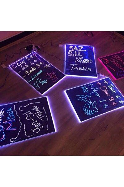 Termoform Işıklı Tabela 60x80cm 1 Kalem 16 Renk Uzaktan Kumanda Işıklı Yazı Panosu Yaz Sil Neon Tabela Yazboz Tabela