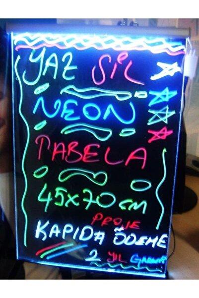Termoform Işıklı Tabela 3 Kalemli yaz Sil Led Neon Tabela Yazı Tahtası Uzaktan Kumandalı Işıklı Yazı Panosu 40x60 cm