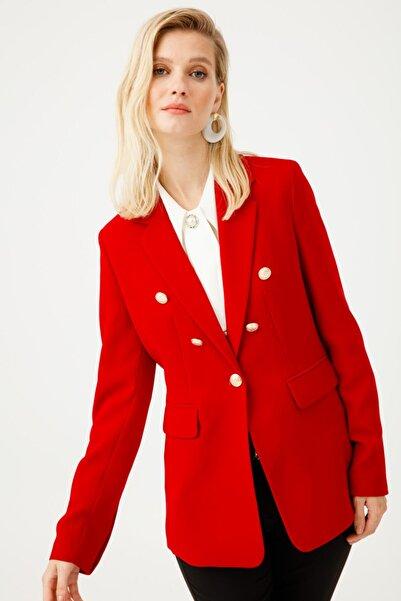 Ekol Kadın Kırmızı Kapak Cepli Ceket