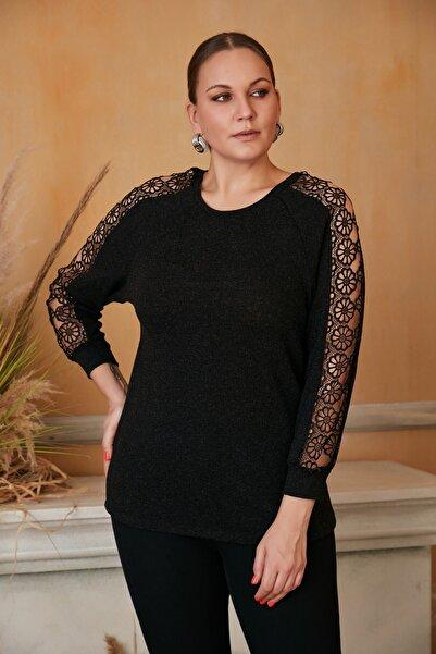RMG Kolları Dantel Detaylı Büyük Beden Siyah Bluz