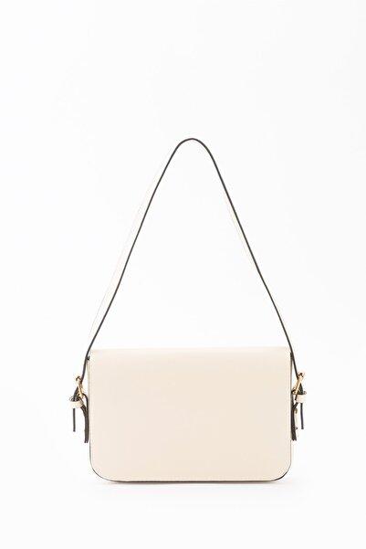 DERİ.DY Kadın Bej Kapaklı Baget Çanta