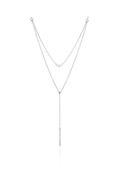Azuris Silver 925 Ayar Gümüş Ikili Uzun Kolye Dsrcha1116