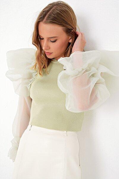Trend Alaçatı Stili Kadın Çağla Yeşili Organze Kol Triko Kazak ALC-X5096