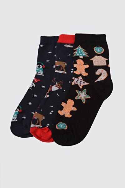 TRENDYOLMİLLA Çok Renkli Jakarlı 3'lü Örme Çorap TWOAW21CO0152