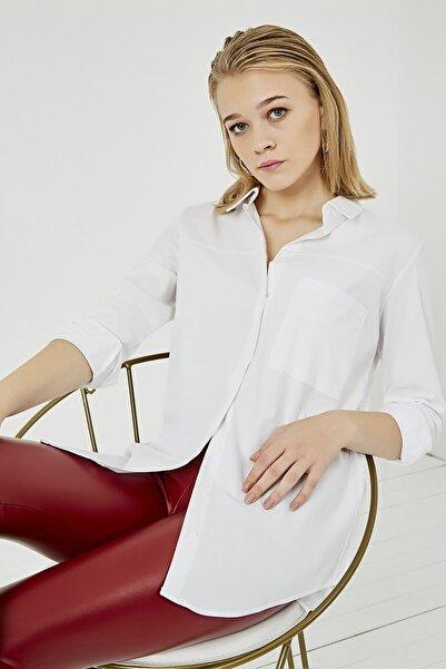 Sateen Kadın Ekru Cep Detaylı Uzun Gömlek