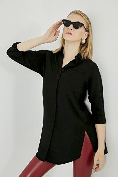 Sateen Kadın Siyah Cepli Uzun Gömlek STN869KGO101