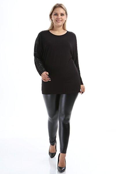 Big Free Kadın Siyah Bluz Pul Payet Tül Kol Tb21Kb452385