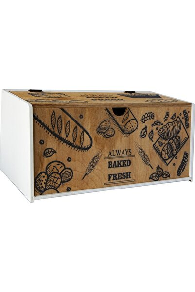 Mavikuğu Dekoratif Ahşap Ekmek Dolabı Desenli Ekmeklik Mk-ahs0008