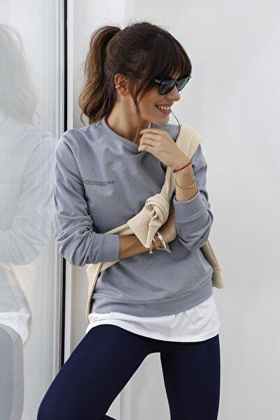 TRENDYOLMİLLA Gri Baskılı %100 Organik Pamuk Basic Örme Sweatshirt TWOAW21SW0747