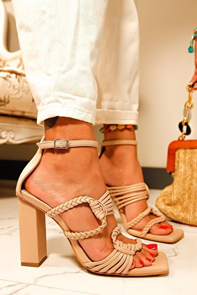 Limoya Kadın Ten Renkli Örgü Detaylı Topuklu Sandalet