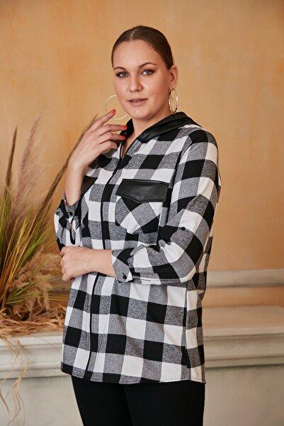 RMG Kadın Siyah Deri Kapüşonlu Cep Kapaklı Büyük Beden Ekose Gömlek