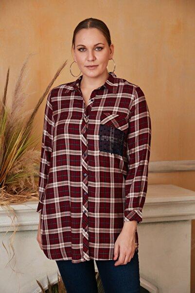 RMG Kadın Bordo Cep Dantel Detaylı Büyük Beden Bordo Gömlek