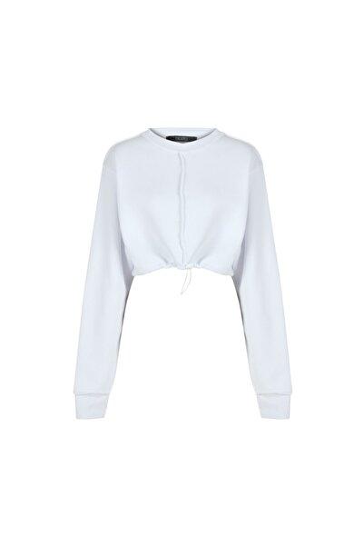 Fineapple Kadın Beyaz Dikiş Detaylı Crop Sweatshirt