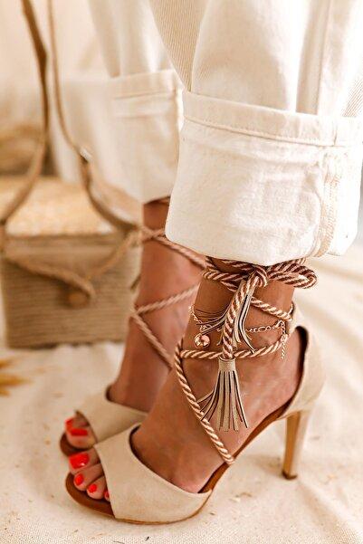 Limoya Kadın Bej Süet Beyaz İp Detaylı İnce Topuklu Stiletto