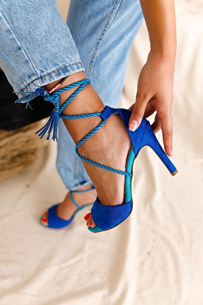 Limoya Kadın Saks Mavisi Süet Beyaz İp Detaylı İnce Topuklu Stiletto