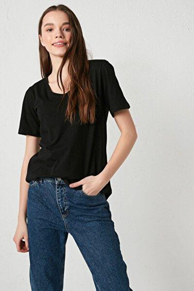 LC Waikiki Kadın Yeni Siyah LCW Casual Tişört