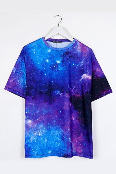 Sekizbiraltı Galaksi Dijital Baskılı Oversize Unisex Tshirt