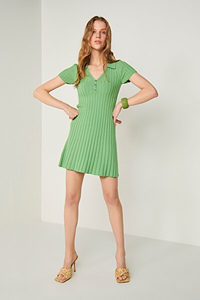 JOIN US Polo Yaka Triko Elbise-yeşil