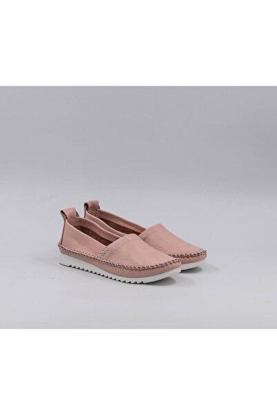 Qawaf Kadın Pembe Hakiki Deri Loafer Ayakkabı