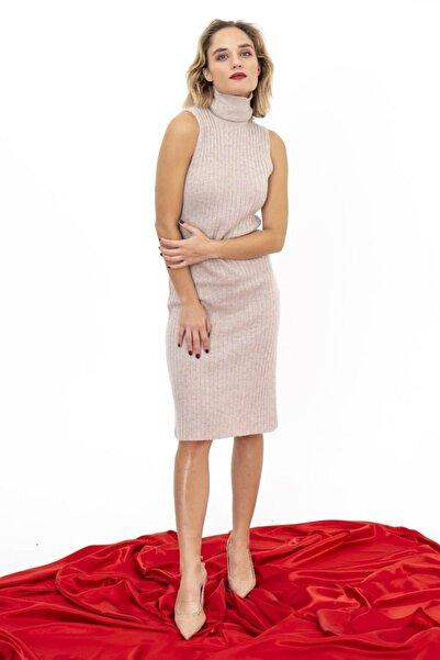 Silk and Cashmere Kaşmir ve Yün Lana Balıkçı Yaka Kolsuz Elbise