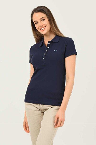 UCLA Shaver Lacivert Polo Yaka Nakışlı Kadın Tshirt