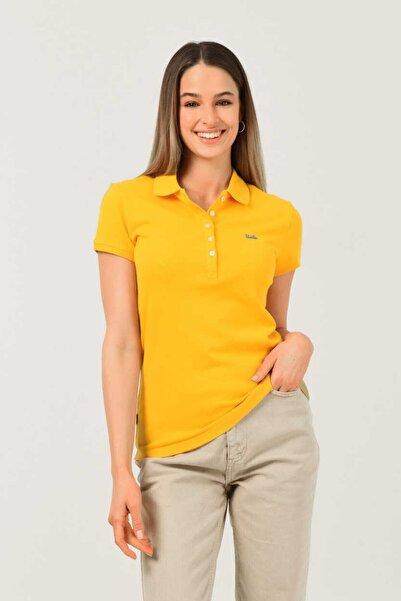 UCLA Shaver Sarı Polo Yaka Nakışlı Kadın Tshirt