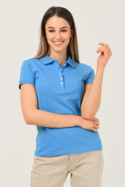 UCLA Shaver Mavi Polo Yaka Nakışlı Kadın Tshirt