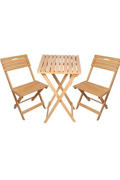 MC CENTER Ahşap 2 1 Balkon Mobilyası %100 Kayın Mutfak Balkon Masa Sandalye Takımı Bahçe Takımı