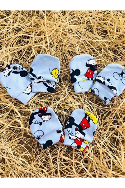 Fuar Baby Yeni Doğan Mavi Renk Mickey Mouse Baskılı Bebek Eldiveni 3lü