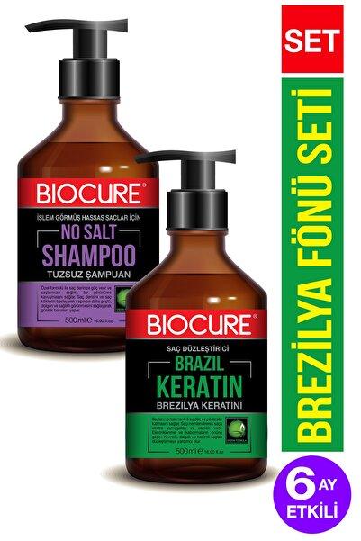 Biocure Saç Düzleştirici Keratin Bakımı Brezilya Fönü 500 ml + Parabensiz, Arındırıcı Tuzsuz Şampuan 500ml