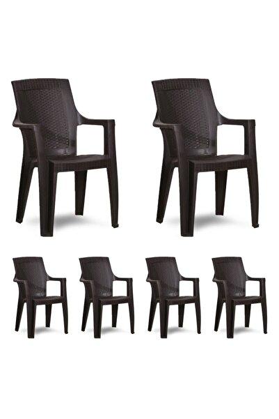 hesapli Gold Koltuk Kahve- Plastik Bahçe Sandalyesi 6 Adet