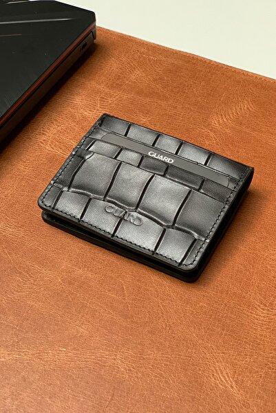 GUARD Otto Black Kroko Deri Cüzdan&kartlık