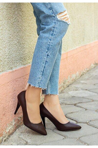 bvea store Revaxi Kahverengi Cilt Stiletto Ayakkabı