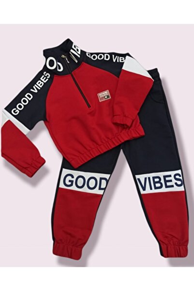 shopshop Şık Model Lacivert-kırmızı Renk Dik Yakalı Kız Çocuk Eşofman Takımı
