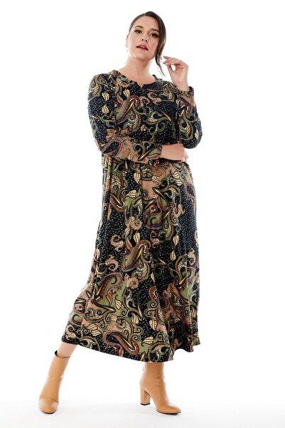 Siyezen Büyük Beden Yesil Şal Desenli Yakası Pervazlı Kışlık Elbise
