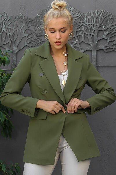 Chiccy Kadın Haki Geniş Yaka Kruvaze Düğmeli Cepli Astarlı Blazer Ceket M10210100CE98931