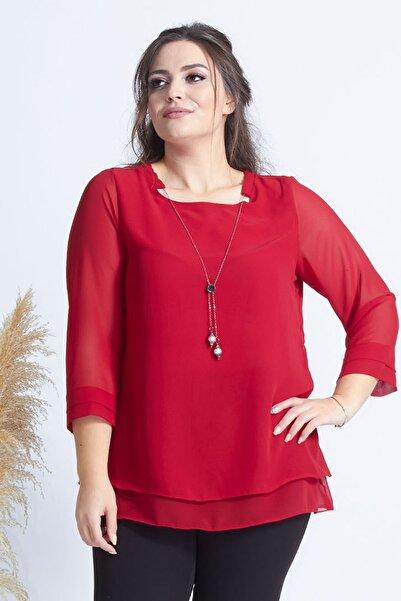 Moda Berray Kırmızı Kolye Yakalı Şifon Büyük Beden Şık Bluz