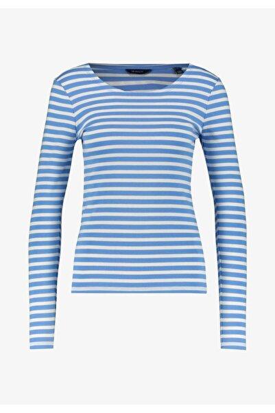 Gant Kadın 1x1 Rib Striped Ls T-shirt Mavi