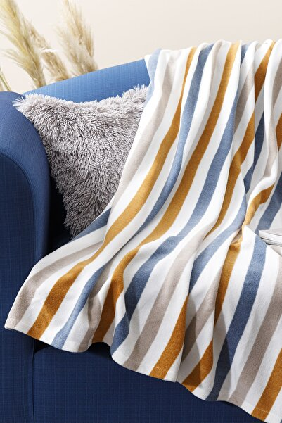 English Home Stripe Polar Tv Battaniye 120x170 Cm Hardal