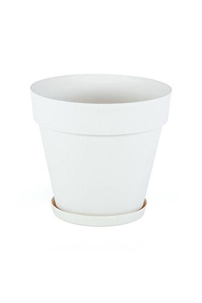 SERİNOVA 3 Litre 19çap 17,5boy Mat Kırık Beyaz Renk Dekoratif Plastik Saksı Yalı No3 Beyaz