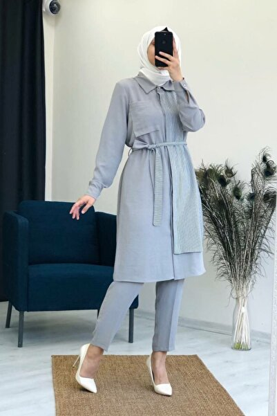 Camelya Fashion Kadın Gri Kuşaklı 2'li Tesettür Takım