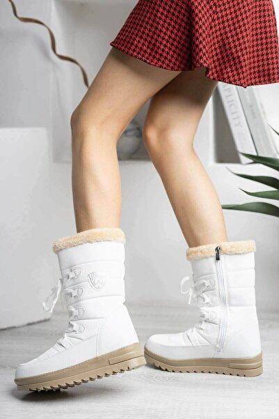 Twingo Kadın Beyaz Kar Botu Termal Yünlü